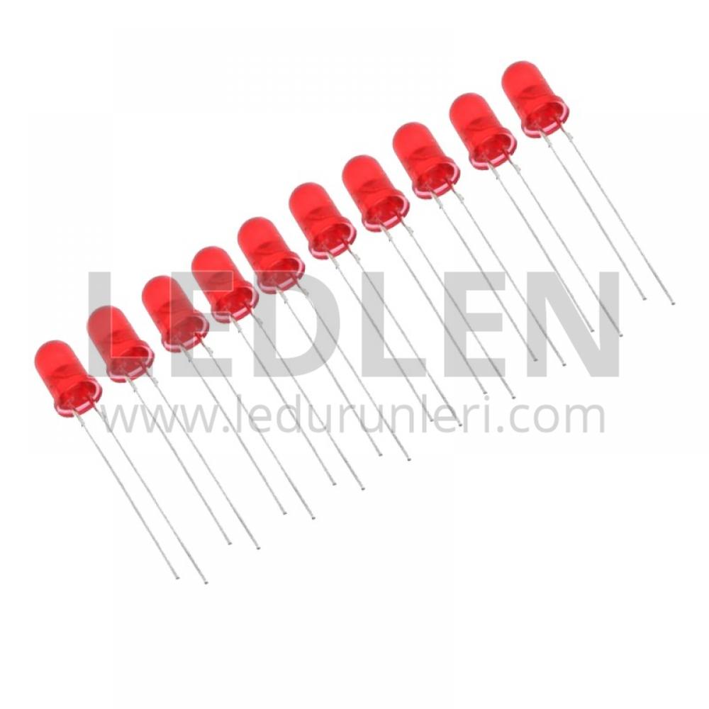 LEDLEN 500 Adet - 5mm 2 PIN Şeffaf Oval (Round) Dip Led