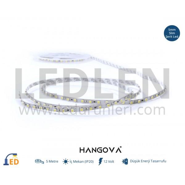 12 Volt 2835 MT/120Led  5mm Tek Çipli İç Mekan (IP20) Şerit Led