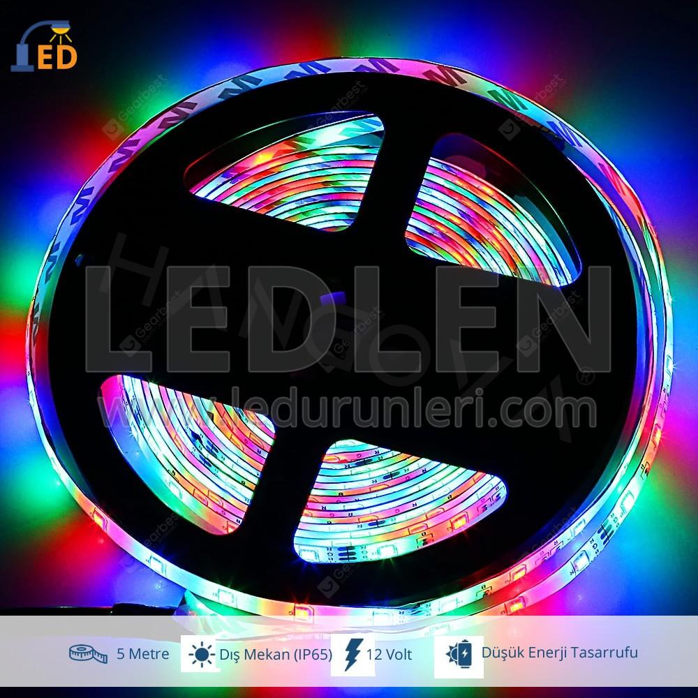 LEDLEN 12 Volt RGB 5050 Üç Çipli MT/60Ledli Dış Mekan(IP65) Şerit Led