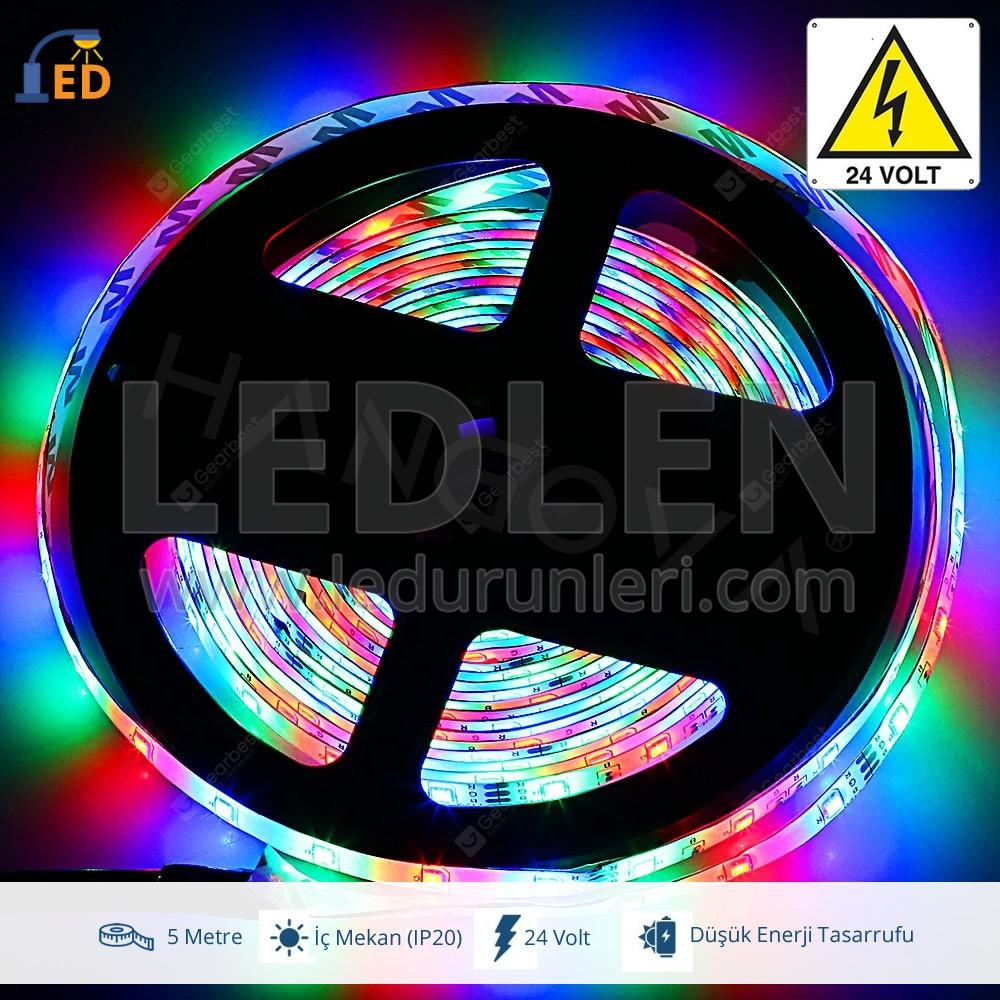 LEDLEN 24 Volt RGB 5050 Üç Çipli MT/60Ledli İç Mekan(IP20) Şerit Led