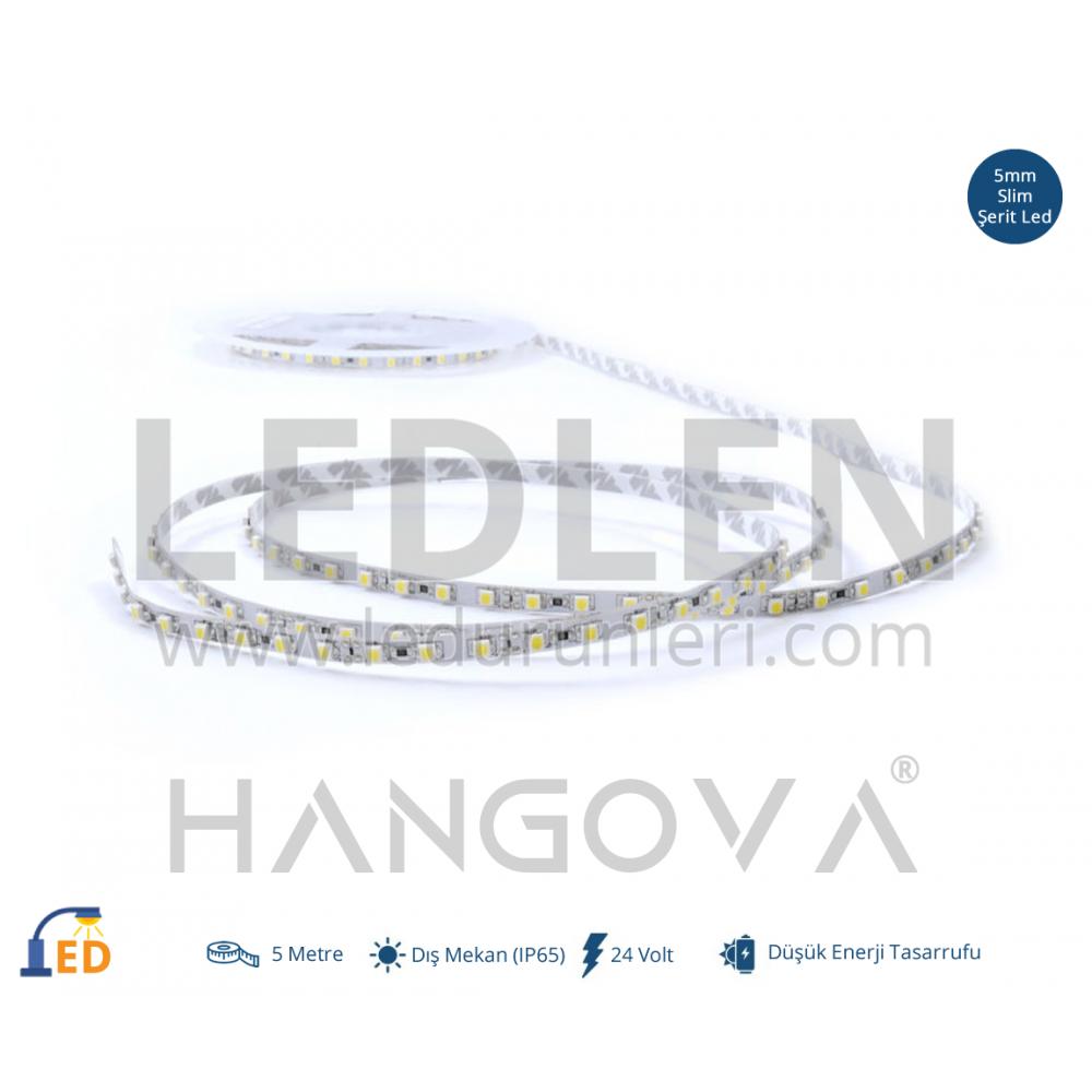 LEDLEN 24 Volt 2835 MT/120Led 5mm Tek Çipli İç Mekan (IP20) Şerit Led