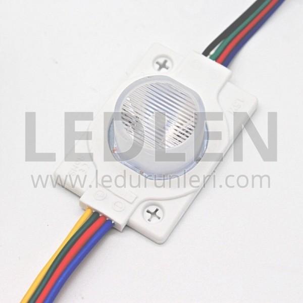 (20 ADET) 12 Volt - 1.5w Tekli Lensli RGB Led Modül