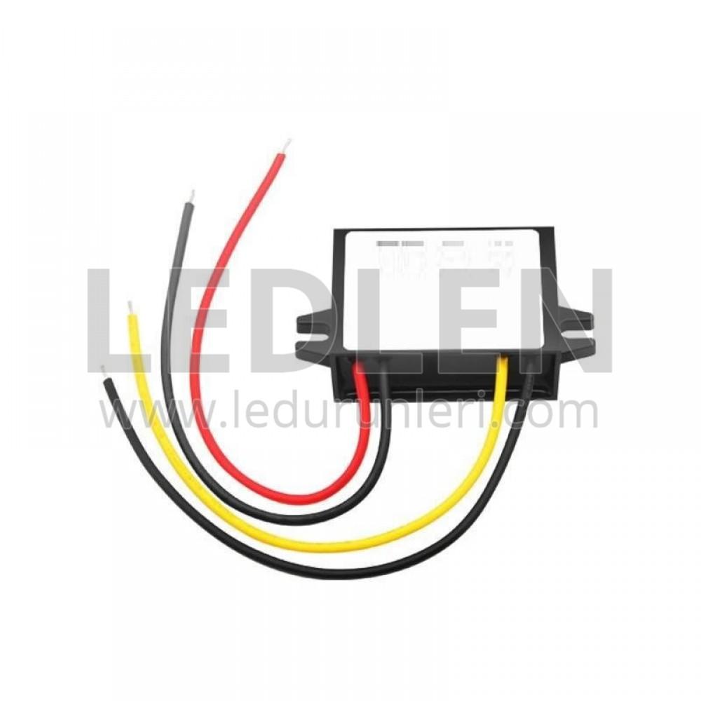 Çevirici/Konvertör: Giriş 24V / Çıkış 12V. 5A. Plastik Kasa - LED625156