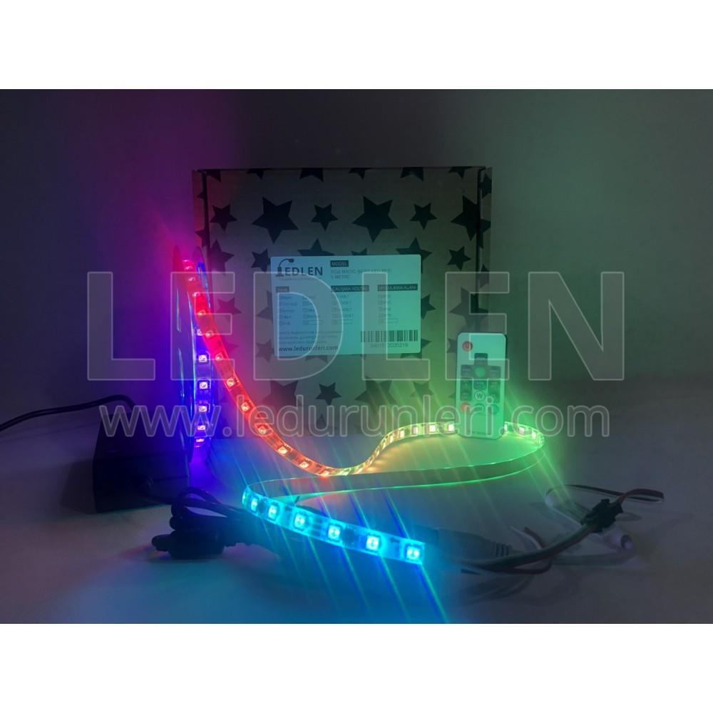 Animasyonlu Kayar RGB Magic Şerit Led SETİ (Adaptör+Kumanda) Tak Çalıştır - SRT-RGB-015