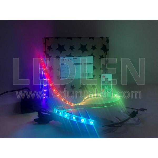 Animasyonlu Kayar RGB Magic Şerit Led SETİ (Adaptör+Kumanda) Tak Çalıştır