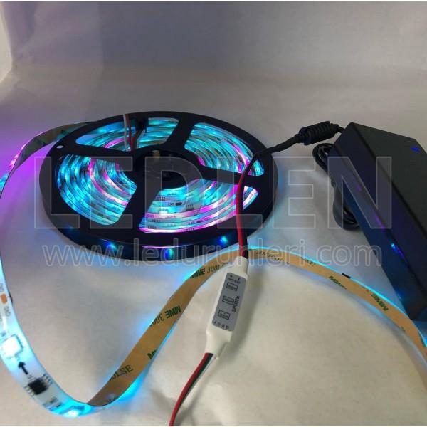 Animasyonlu RGB Şerit Led SET (Adaptör+Tuşlu Controller) 5 Metre