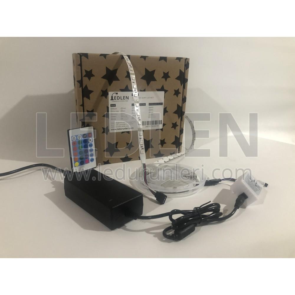RGB Şerit Led Aydınlatma Seti- Hazır Kurulu Paket Tak Çalıştır - SRT-RGB-145