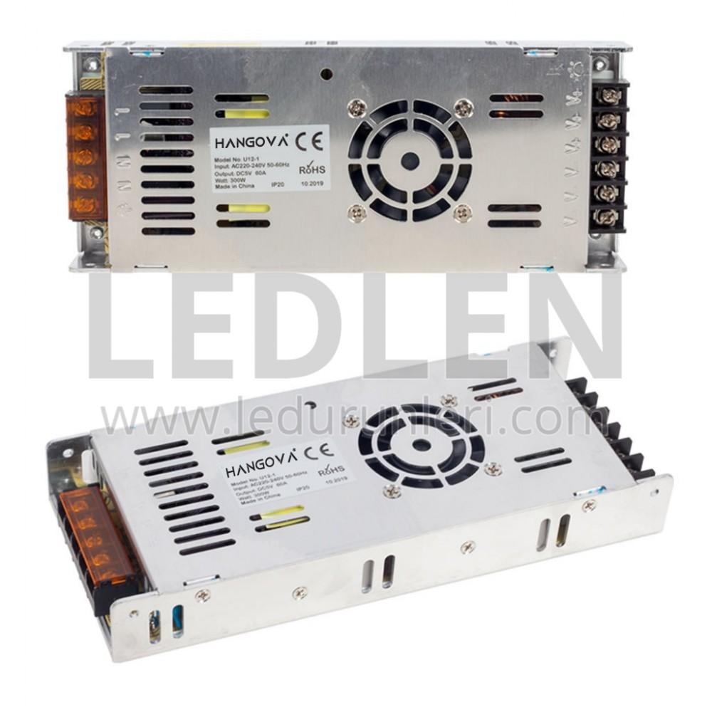 LEDLEN 5 Volt 60 Amper Adaptör Slim Metal Kasa