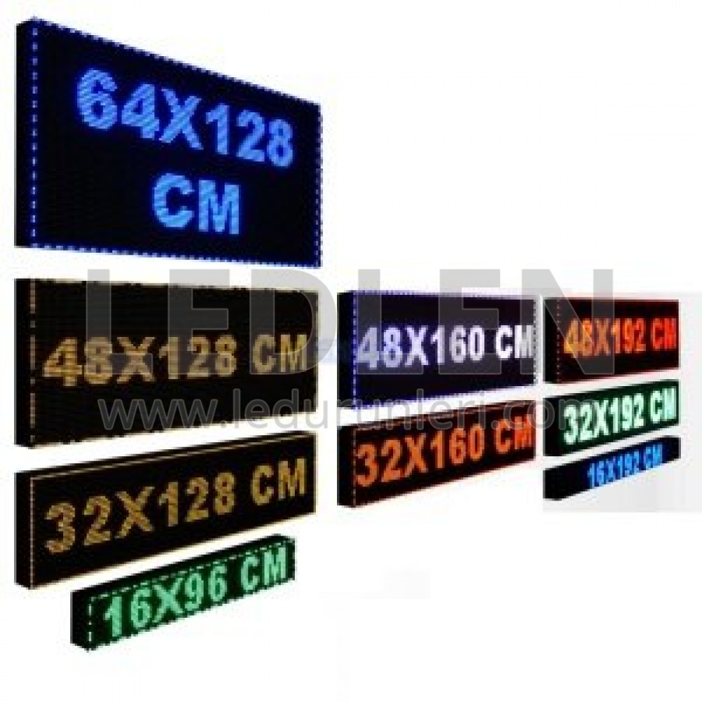 LEDLEN Tek Taraflı - Led Tabela Kayan Yazı 32cm x 128cm