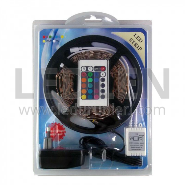 5 Metre RGB 5050 Şerit Led Seti | Kumanda + Adaptör
