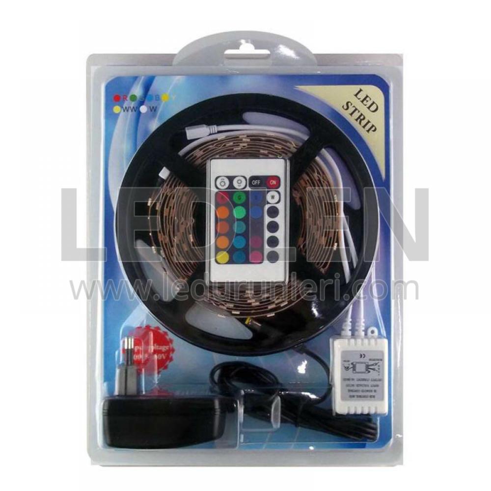 LEDLEN 5 Metre RGB 5050 Şerit Led Seti | Kumanda + Adaptör