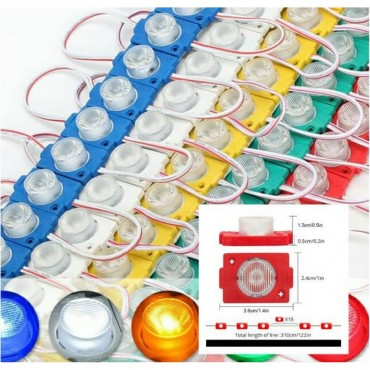 (10 ADET) 12 Volt - 1.5 Watt Tekli Lensli RGB Flaş Modül Led