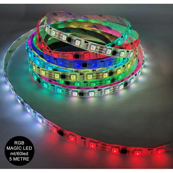 12 Volt RGB Magic Animasyonlu Led Dış Mekan (IP65) Şerit Led